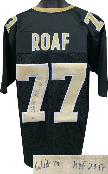 Willie Roaf signed Black Custom Stitched Pro Style Football Jersey HOF 2012 XL- Leaf Authentics Hologram PSM-Powers Sports Memorabilia