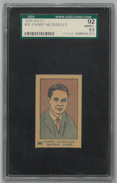 Johnny Weismuller Swimming Champ 1926 W512 Trading Card- SGC Graded 92 Near Mint-Mint+ PSM-Powers Sports Memorabilia