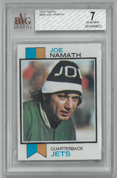 Joe Namath New York Jets 1973 Topps Football Card #400- Beckett Graded 7 Near Mint PSM-Powers Sports Memorabilia