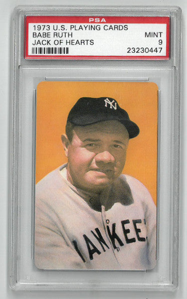 Babe Ruth New York Yankees 1973 US Playing Cards Jack of Hearts Baseball Card- PSA Graded 9 Mint PSM
