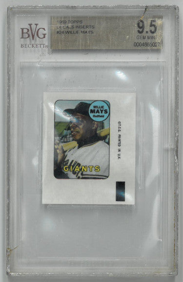 Willie Mays San Francisco Giants 1969 Topps Decals Inserts Baseball Card- Beckett Graded 9.5 Gem Mint PSM-Powers Sports Memorabilia