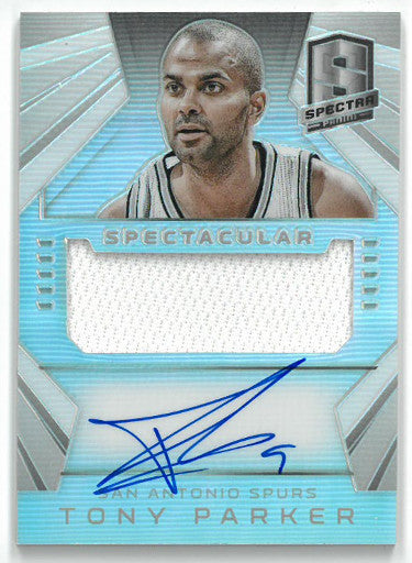 Tony Parker signed San Antonio Spurs 2014-15 Panini Spectra Prism Game Used Jersey Basketball Card #SS-TP- LTD 29/35 PSM-Powers Sports Memorabilia