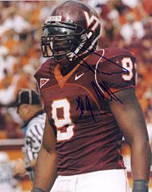 Vince Hall Autographed 8x10 Photo Virginia Tech Hokies PSM-Powers Sports Memorabilia