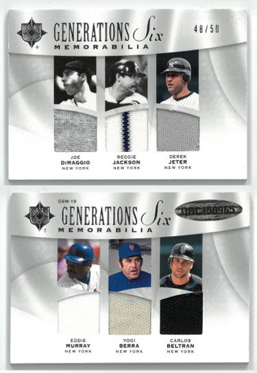 Joe DiMaggio/Reggie Jackson/Derek Jeter Yankees 2009 Ultimate Generations Six Game Used Jersey Baseball Card #G6M-19- LTD 48/50 PSM-Powers Sports Memorabilia