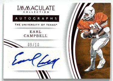 Earl Campbell signed Texas Longhorns 2016 Panini Immaculate Collection Football Card #70- LTD 9/10 PSM-Powers Sports Memorabilia