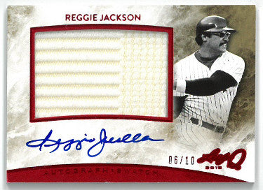 Reggie Jackson signed 2015 Leaf Q Game Used Jersey Relic Patch Baseball Card #AM-RJ1- LTD 6/10 PSM-Powers Sports Memorabilia