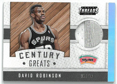 David Robinson San Antonio Spurs 2015-16 Panini Threads Century Greats Game Used Jersey Patch Basketball Card #23- LTD 5/10 PSM-Powers Sports Memorabilia