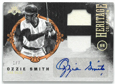 Ozzie Smith signed San Diego Padres 2017 Diamond Kings Game Used Jersey Baseball Card #HCMS-OS- LTD 1/7 PSM-Powers Sports Memorabilia
