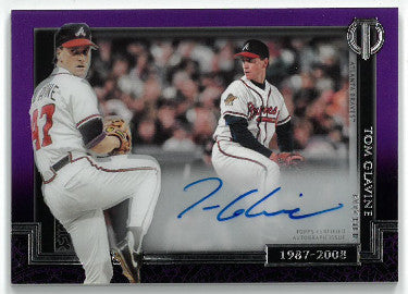 Tom Glavine signed Atlanta Braves 2017 Topps Tribute Baseball Card #GOE-TG- LTD 31/50 PSM-Powers Sports Memorabilia