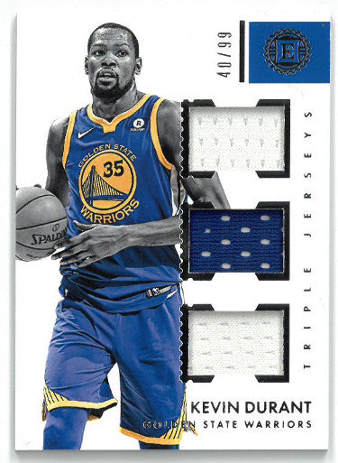Kevin Durant Golden State Warriors 2017-18 Panini Encased Triple Game Used Jersey Basketball Card #TJ-KD- LTD 40/99 PSM-Powers Sports Memorabilia