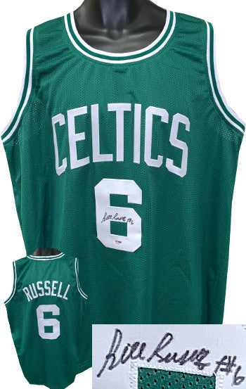 Bill Russell signed Boston Celtics Green TB Custom Stitched Pro Basketball Jersey #6- PSA Hologram #W26503 PSM-Powers Sports Memorabilia