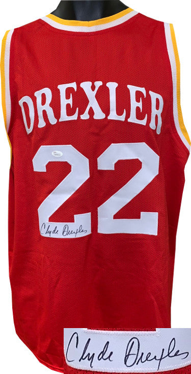 Clyde Drexler signed Red TB Custom Stitched Pro Basketball Jersey- JSA Hologram #WP945813 PSM-Powers Sports Memorabilia