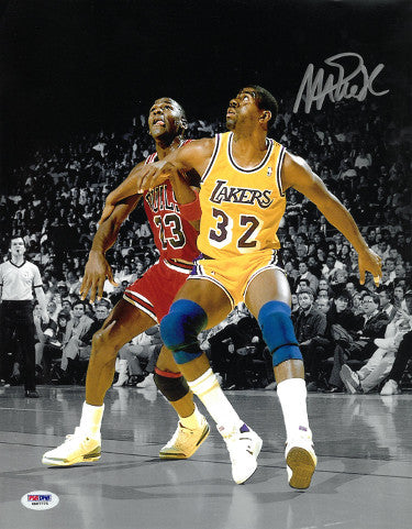 Magic Johnson signed Los Angeles Lakers 11x14 Photo minor ding- PSA ITP Hologram #6A87775 (vs Michael Jordan) PSM-Powers Sports Memorabilia
