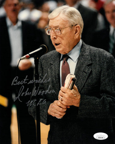 John Wooden signed UCLA Bruins 8x10 Photo Coaching w/ UCLA Best Wishes (deceased)- JSA Hologram #DD64309 PSM-Powers Sports Memorabilia