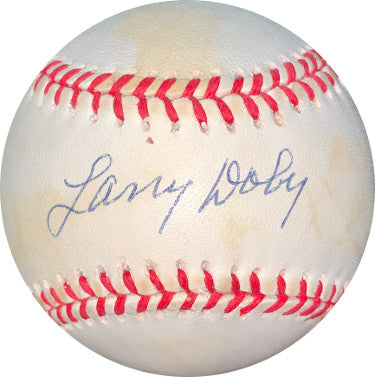 Larry Doby signed ROAL Rawlings Official American League Baseball minor tone- JSA Hologram #DD64447 (Cleveland Indians) PSM-Powers Sports Memorabilia