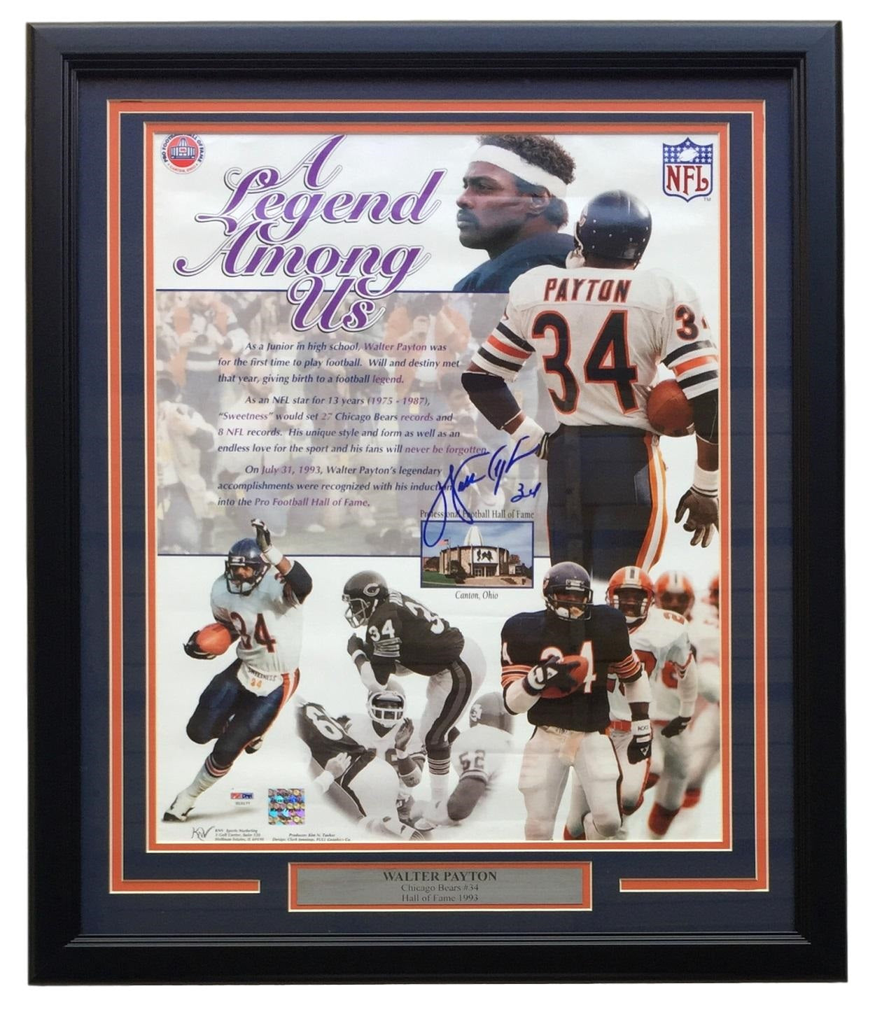 Walter Payton Chicago Bears Signed Framed 16x20 Legend Among US Photo PSA LOA PSM-Powers Sports Memorabilia