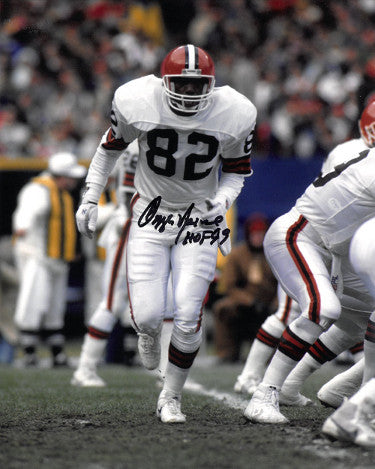 Ozzie Newsome signed Cleveland Browns 8x10 Photo HOF 99 (white jersey) PSM-Powers Sports Memorabilia