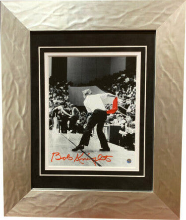 Bobby Knight signed Indiana Hoosiers 8x10 B&W Spotlight Photo Custom Framing Red Chair Toss (red sig) imperfection- Steiner Holo PSM-Powers Sports Memorabilia