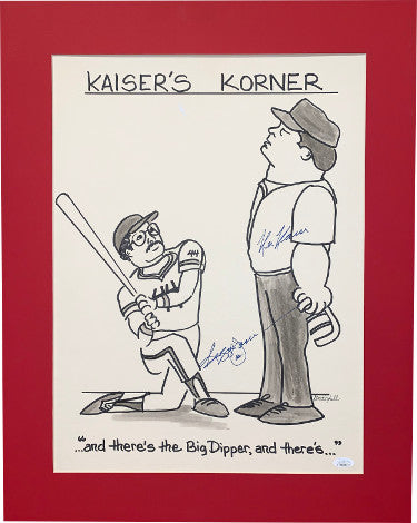 Reggie Jackson & Ken Kaiser dual signed KaiserÆs Corner New York Yankees Big Dipper photo/artwork Matted 19.5x24.5 #44- JSA Holo PSM-Powers Sports Memorabilia