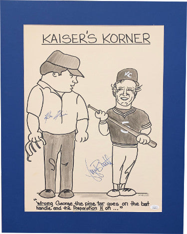 George Brett & Ken Kaiser dual signed Kaiser's Corner Kansas City Royals Pine Tar photo/artwork Matted 19.5x24.5- JSA #DD64594 PSM-Powers Sports Memorabilia