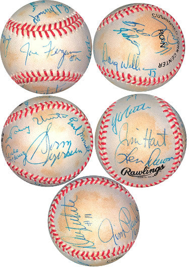 NFL QB LEGENDS signed RONL Ofc Baseball 13 sigs – JSA LOA Johnny Unitas/Y.A. Tittle/Len Dawson/Archie Manning/Jim Plunkett PSM-Powers Sports Memorabilia