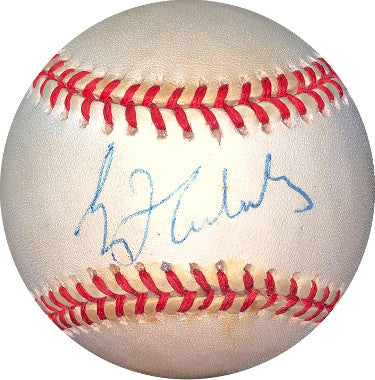 Greg Maddux signed RONL Rawlings Official National League Baseball toned- JSA Hologram #EE41823 (Braves/Cubs) PSM-Powers Sports Memorabilia