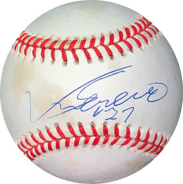 Vladimir Guerrero signed RONL Rawlings Official National League Baseball #27 minor tone spots-JSA Holo #EE41636 (Montreal Expos) PSM-Powers Sports Memorabilia