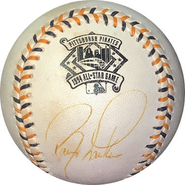 Barry Larkin signed Rawlings Official 1994 All-Star Game Logo Baseball minor tone spots- JSA Holo #EE41806 (San Diego Padres) PSM-Powers Sports Memorabilia