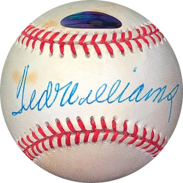 Ted Williams signed ROAL Rawlings Official American League Baseball minor tone spots- Steiner Hologram (Boston Red Sox) PSM-Powers Sports Memorabilia