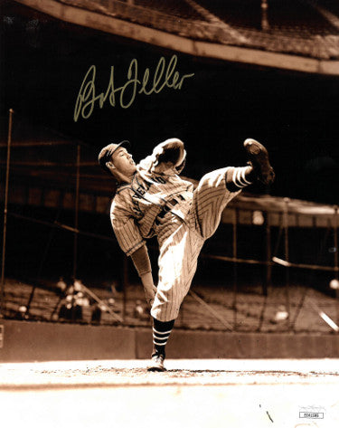 Bob Feller signed Cleveland Indians 8x10 Vintage Sepia Photo- JSA Hologram #EE41585 PSM-Powers Sports Memorabilia