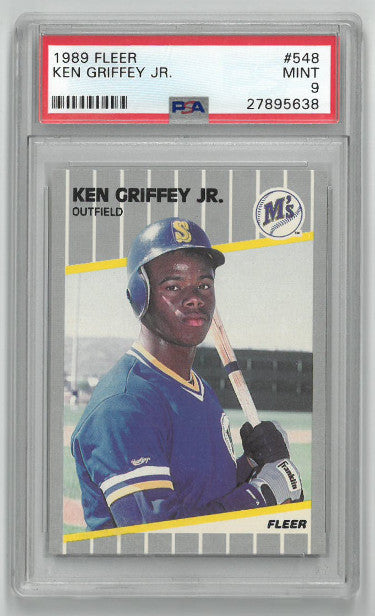 Ken Griffey, Jr. Seattle Mariners 1989 Fleer Rookie Baseball Trading Card (RC) #548- PSA Graded 9 Mint PSM-Powers Sports Memorabilia