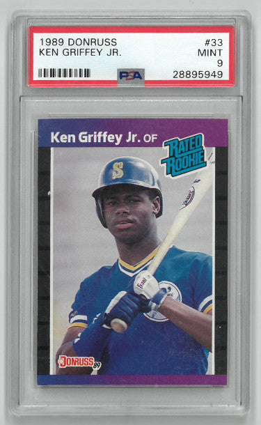 Ken Griffey, Jr. Seattle Mariners 1989 Donruss Rated Rookie Baseball Trading Card (RC) #33- PSA Graded 9 Mint PSM-Powers Sports Memorabilia