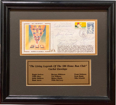 500 Home Run Club 150th Anniversary signed 1st Day Cover Custom Framing Mickey Mantle/Hank Aaron/Willie Mays/Ted Williams-JSA PSM-Powers Sports Memorabilia
