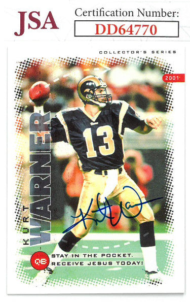 Kurt Warner signed St. Louis Rams 2001 Collectors Series Football Card- JSA Hologram #DD64770 PSM-Powers Sports Memorabilia