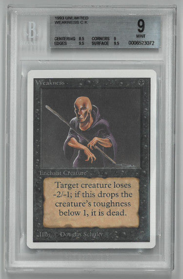 1993 Magic The Gathering Unlimited Weakness CK Trading/Game Card- Beckett Graded 9 Mint PSM-Powers Sports Memorabilia