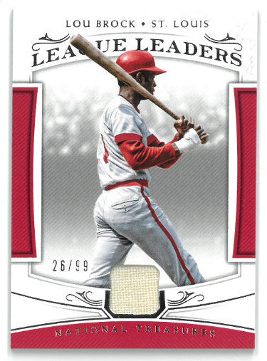 Lou Brock St. Louis Cardinals 2018 Panini National Treasures League Leaders Game Used Jersey Baseball Card #LL-LB- LTD 26/99 PSM-Powers Sports Memorabilia