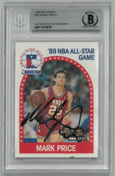 Mark Price signed 1989-90 Hoops NBA All-Star Game Card #28- Beckett BAS #00011514676 (Cleveland Cavaliers) PSM