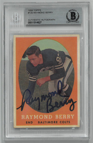 Raymond Berry signed Baltimore Colts 1958 Topps Football Trading Card #120- Beckett BAS #00011514627 PSM-Powers Sports Memorabilia