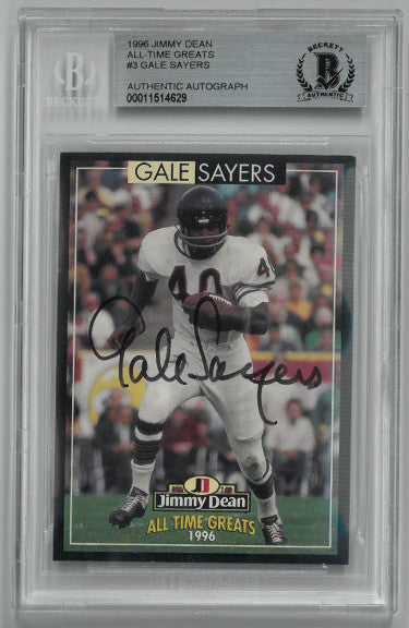 Gale Sayers signed Chicago Bears 1996 Jimmy Dean Pro Football Players Alumni Football Card- Beckett BAS #00011514629 PSM-Powers Sports Memorabilia