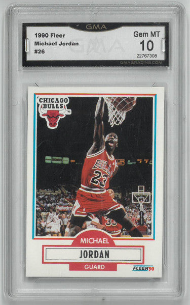 Michael Jordan Chicago Bulls 1990-91 Fleer Basketball Card #26- GMA Graded Gem Mint 10 PSM-Powers Sports Memorabilia