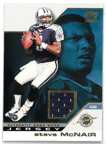 Steve McNair Tennessee Titans 2002 Pacific Authentic Game Worn Jersey Card #48 PSM-Powers Sports Memorabilia