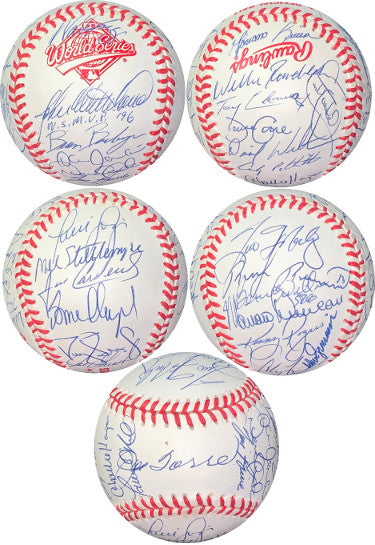1996 World Series NY Yankees Team signed Official Rawlings WS Baseball 30 sigs ûJSA#BB18788 John Wetteland WS MVP/Joe Torre PSM-Powers Sports Memorabilia