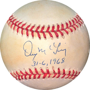 Denny McLain signed ROAL Rawlings Official American League Baseball 31-6, 1968 toned- JSA Hologram #EE41724 (Detroit Tigers) PSM-Powers Sports Memorabilia