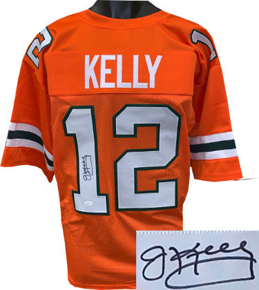 Jim Kelly signed Miami Hurricanes Orange TB Custom Stitched College Style Football Jersey XL- JSA Witnessed Hologram PSM-Powers Sports Memorabilia