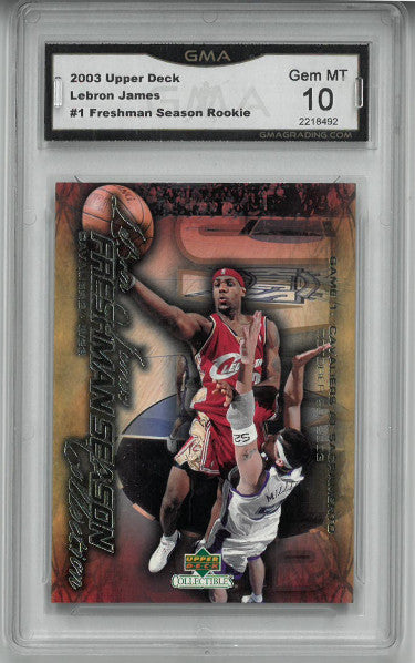 Lebron James Cleveland Cavaliers 2003-04 Upper Deck Rookie Freshman Season Card #1-GMA Graded Gem MT 10 PSM-Powers Sports Memorabilia