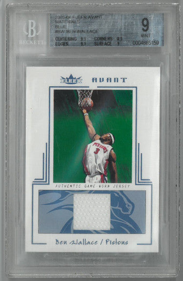Ben Wallace Detroit Pistons 2003-04 Fleer Avant Material Game Worn Card #BW- BGS Graded 9 Mint- LTD 139/400 PSM-Powers Sports Memorabilia