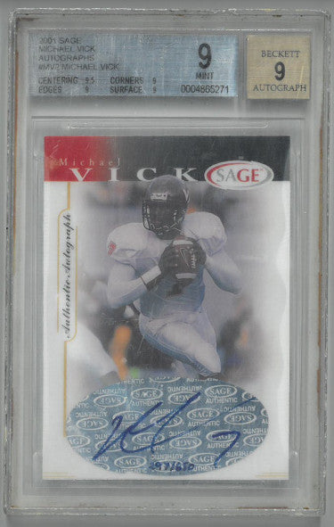 Michael Vick Virginia Tech Hokies 2001 Sage Football Card #MV2- BGS Graded 9 Mint- Autograph BGS 9- LTD 297/650 PSM-Powers Sports Memorabilia