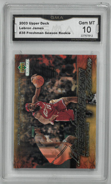 Lebron James Cleveland Cavaliers 2003-04 Upper Deck Freshman Season Rookie Basketball Card #38- GMA Graded Gem Mint 10 PSM-Powers Sports Memorabilia