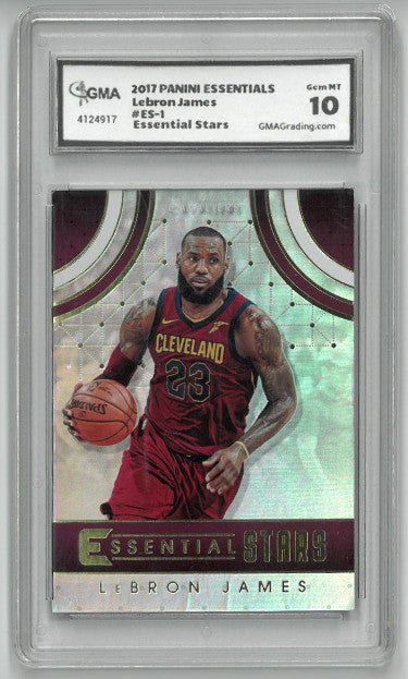 Lebron James Cleveland Cavaliers 2017-18 Panini Essentials Stars Basketball Card #ES-1- GMA Graded Gem Mint 10 PSM-Powers Sports Memorabilia