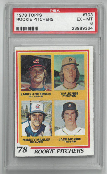 Jack Morris Detroit Tigers 1978 Topps Rookie Pitchers Baseball Card #703- PSA Graded 6 Excellent-Mint PSM-Powers Sports Memorabilia